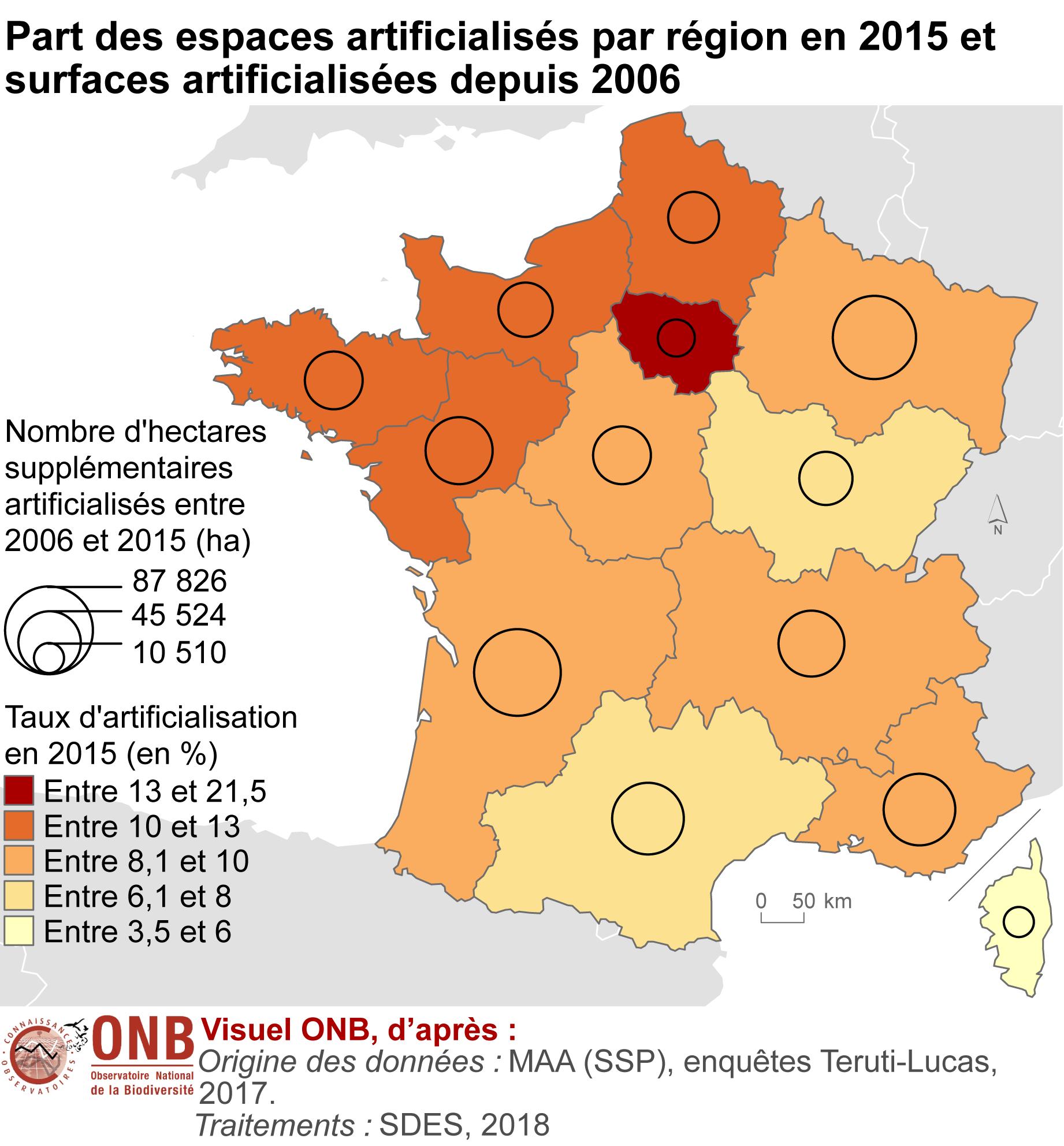 Carte du taux de surfaces artificialisées par région en 2015 et évolution depuis 2006 - Voir descriptif détaillé ci-après