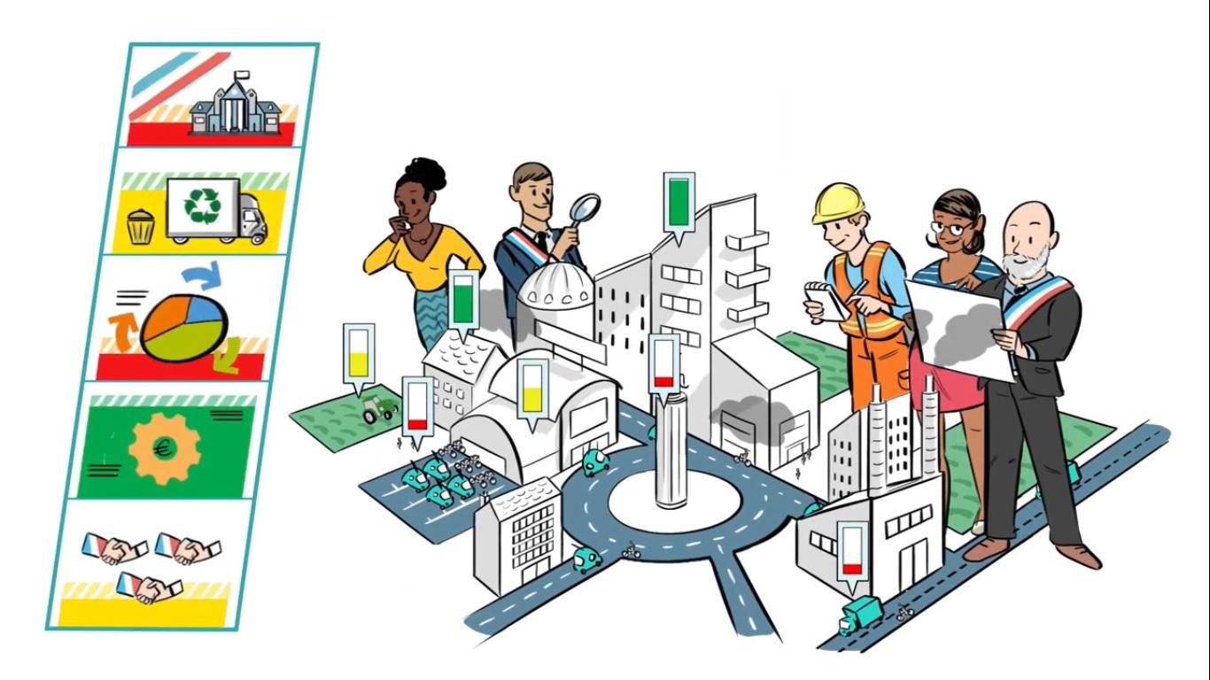 Illustration des acteurs engagés sur un territoire pour l'économie circulaire